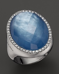 Roberto Coin 18K White Gold Fantasia Blue Topaz Lapis And Mother Of Pearl Triplet Cocktail Ring With Diamonds