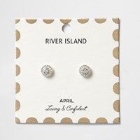River Island Womens White April Birthstone Stud Earrings