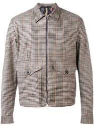 Paul Smith Checked Bomber Jacket Men Viscose Wool M Nude Neutrals