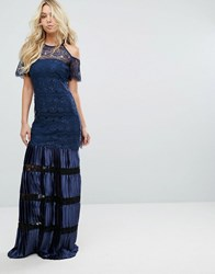 Body Frock Bodyfrock Cold Shoulder Lace Maxi Dress With Pleated Skirt Navy