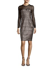 Shoshanna Midnight Metallic Long Sleeve Sheath Dress Jet Gold