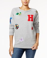 Tommy Hilfiger Patch Sweatshirt Only At Macy's Grey Heather