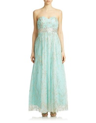 Cachet Beaded Waist Glitter Tulle Gown Turquoise Gold