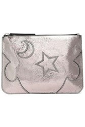 Mcq By Alexander Mcqueen Woman Solstice Metallic Cracked Leather Pouch Silver