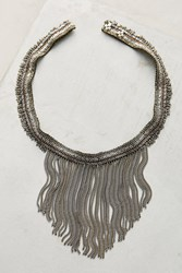 Anthropologie Attia Beaded Fringe Necklace Neutral