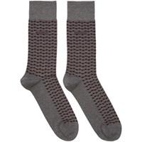 Boss Two Pack Grey And Red Stripe Socks