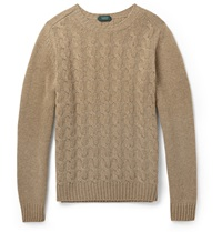 Incotex Cable Knit Wool Sweater Brown