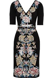 Catherine Deane Embroidered Stretch Ponte Dress Black