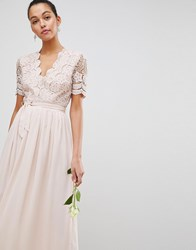 Club L Short Sleeve Crochet Lace Maxi Dress With V Neck Light Pink Yellow