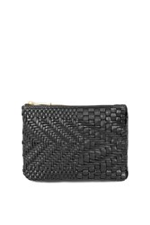 Topshop Leather Weave Bumbag Black