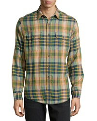 Tailor Vintage Long Sleeve Plaid Reversible Sport Shirt Dirty Martini