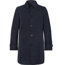 Aspesi Slim Fit Garment Dyed Shell Trench Coat Navy