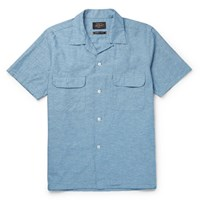 Beams Plus Camp Collar Cotton And Hemp Blend Chambray Shirt Blue