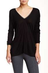 David Lerner Faux Leather Trim V Neck Tee Black
