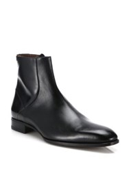 A. Testoni Leather Ankle Boots Black