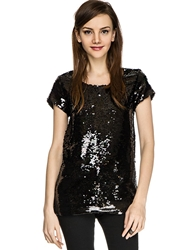 Pixie Market Black Sequin Long Top