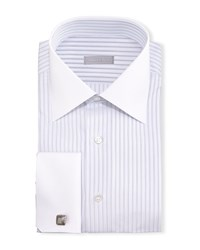 Stefano Ricci Contrast Collar French Cuff Striped Dress Shirt Blue Men's