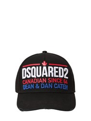 Dsquared Embellished Cotton Canvas Baseball Hat Black