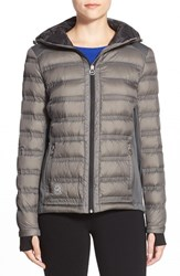 Women's Michael Michael Kors Mixed Media Down Jacket Gunmetal Black