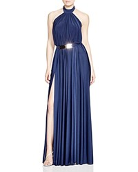 Nicole Bakti Belted Open Back Gown Navy