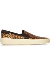 Saint Laurent Leopard Print Glossed Leather Slip On Sneakers