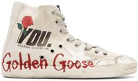 Golden Goose Ivory Glitter Francy High Top Sneakers