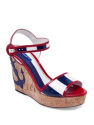 Dolce And Gabbana Anchor Patent Leather Cork Wedge Sandals