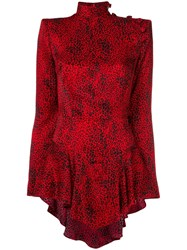 Alessandra Rich Longsleeved Spotted Blouse Red