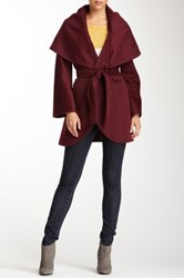 Tahari Marla Oversized Collar Wool Blend Coat Red