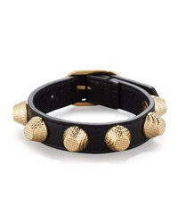 Balenciaga Giant Leather Golden Stud Bracelet Violet Prune
