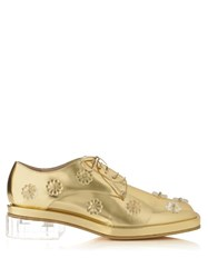 Simone Rocha Perspex Heel Leather Lace Up Shoes Gold