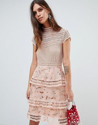 Y.A.S Dress With Tiered Lace Detailed Skirt Pink