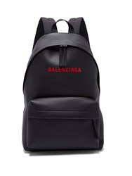 Balenciaga Everyday Logo Print Leather Backpack Black Red