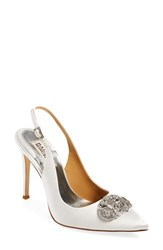 Women's Badgley Mischka 'Sansa' Slingback Pump White Satin