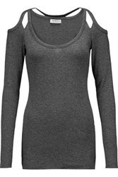 Bailey 44 Monarch Cutout Stretch Jersey Top Dark Gray