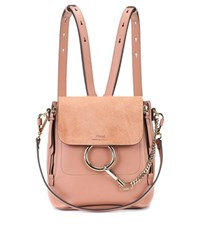 Chloe Faye Leather And Suede Backpack Pink