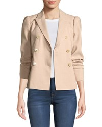 Rebecca Taylor Stretch Linen Double Breasted Jacket Blush