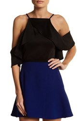 Blvd Ruffle Cold Shoulder Blouse Black