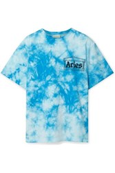 Aries Printed Tie Dyed Cotton Jersey T Shirt Blue