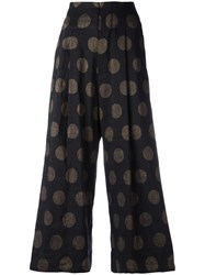 Uma Wang Dotted Cropped Trousers Black