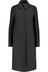 Missoni Reversible Metallic Crochet Knit And Quilted Shell Coat Black