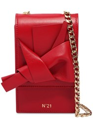 N 21 Micro Bow Nappa Leather Shoulder Bag Red