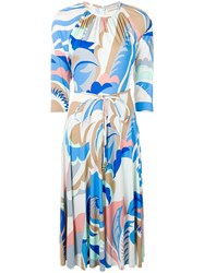Emilio Pucci Abstract Print Gathered Dress Blue