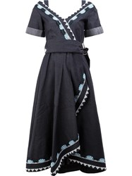 Peter Pilotto Embroidered Denim Wrap Dress Blue