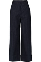 Carven Pinstriped Felt Wide Leg Pants Midnight Blue