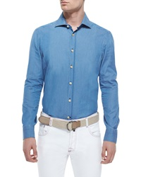 Kiton Chambray Long Sleeve Woven Shirt Light Blue