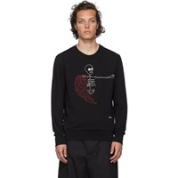 Alexander Mcqueen Black Winged Skeleton Sweatshirt
