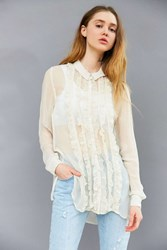 Kimchi And Blue Sheer Ruffle Button Down Blouse Ivory