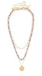 Madewell Beaded Layer Necklace Set Coral Multi