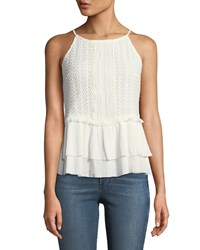 Dex Frilled Crochet Halter Neck Blouse Ivory